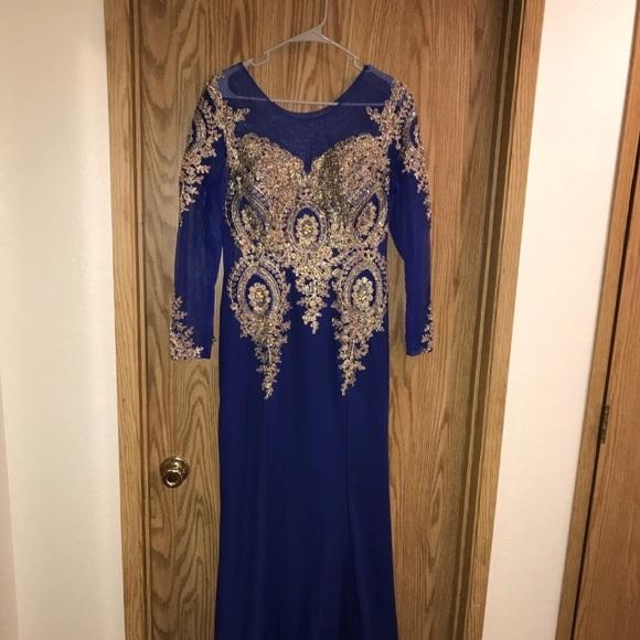 Dresses & Skirts - Cobalt blue formal with gold brocade Sz 16